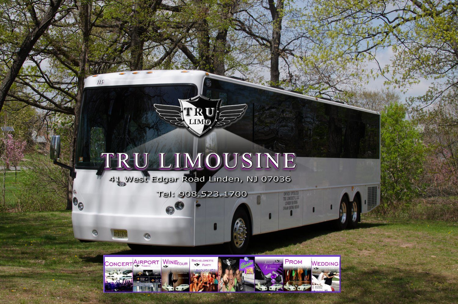 44 Passenger New Jersey Party Bus 115 Exterior 5 DELRAN NEW JERSEY PARTY BUSES